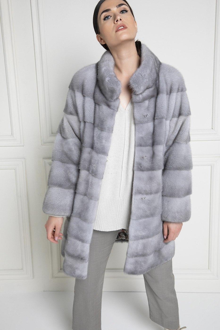 Sapphire Female Mink Coat Full Sleeves - Length 90 cm
