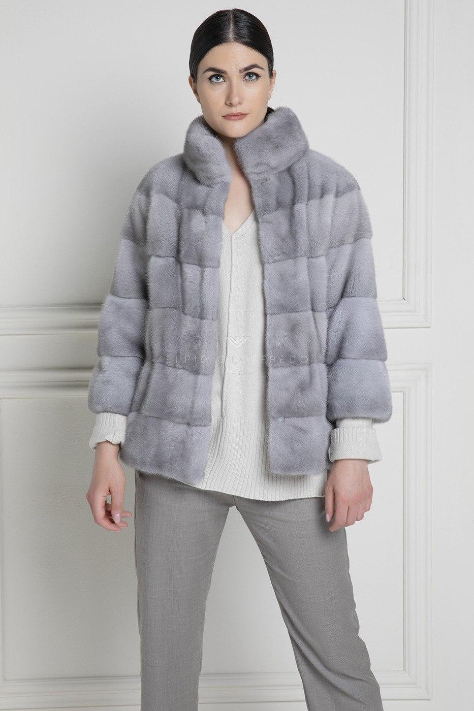 Sapphire Mink Fur with Round Collar - Length 65 cm