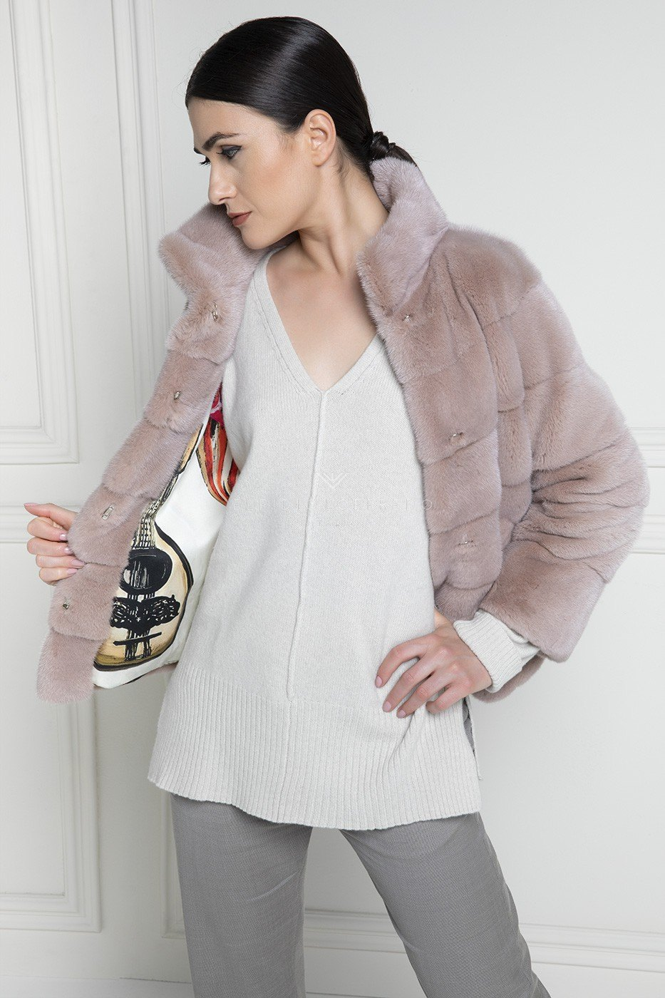 Giacca di Visone Rosa Kopenhagen Platinum - Lunghezza 65 cm