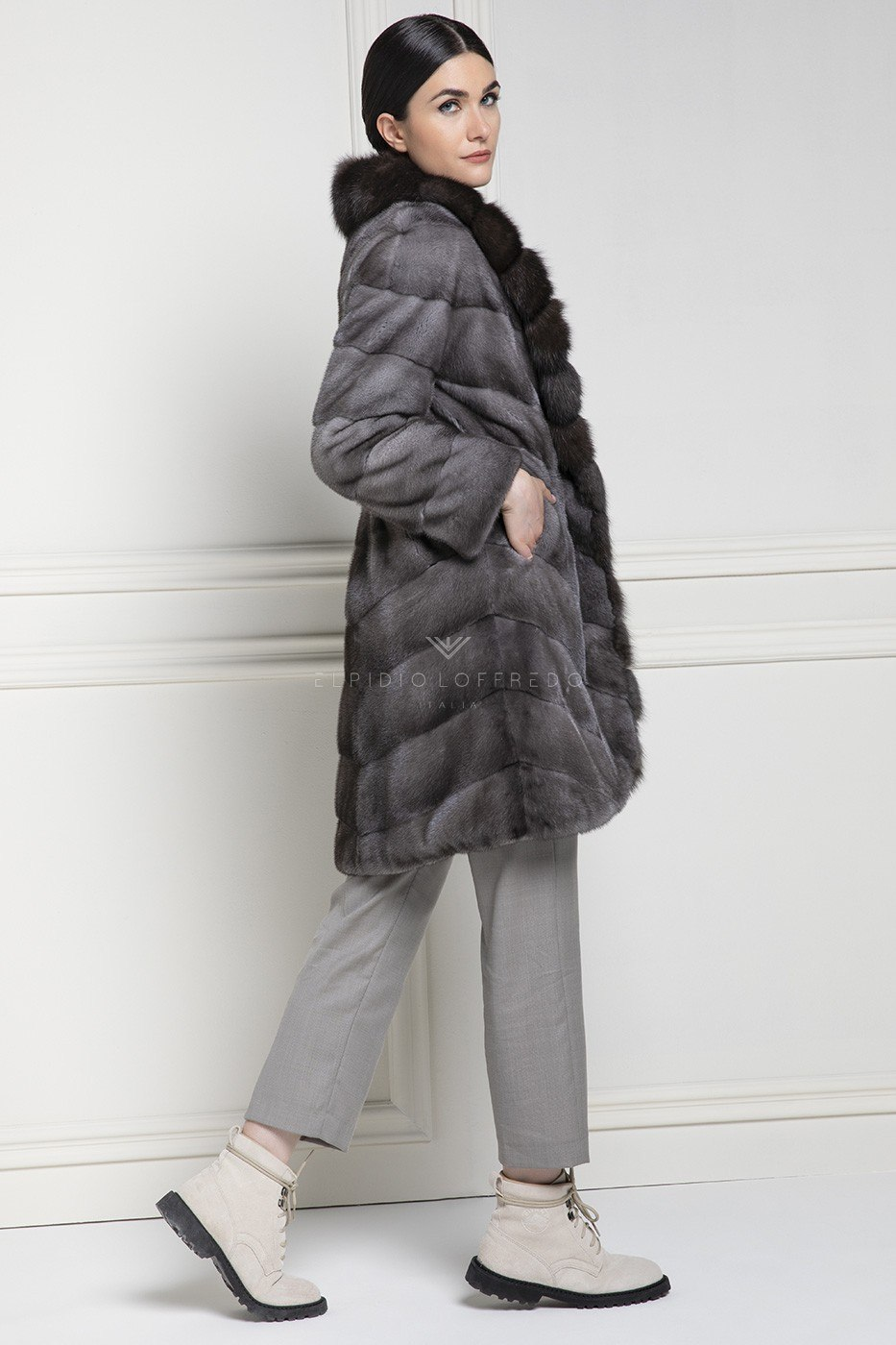 Blue Iris Female Mink with Barguzinsky Russian Sable and Shawl collar