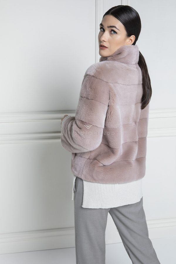 Pink Mink Fur Jacket Kopenhagen Platinum Quality - Length 65 cm