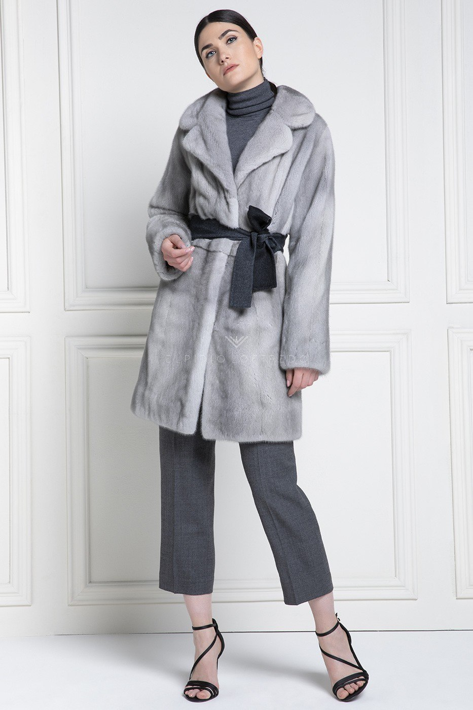Sapphire Female Mink Coat with Rever Collar - Length 90 cm