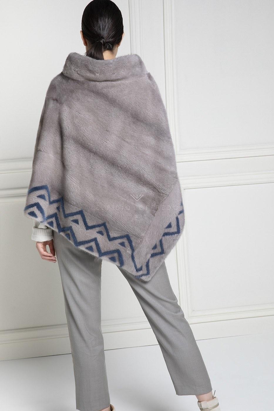 Mantella di Visone Silverblue con intarsi Blue - Lunghezza 70 cm