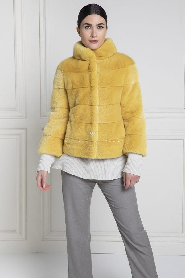 Female Mink Fur Jacket Yellow Color - Length 65 cm