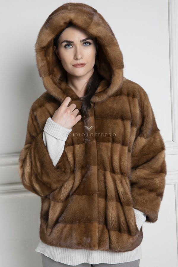 Whisky Mink Jacket with Hoodie - Length 65 cm