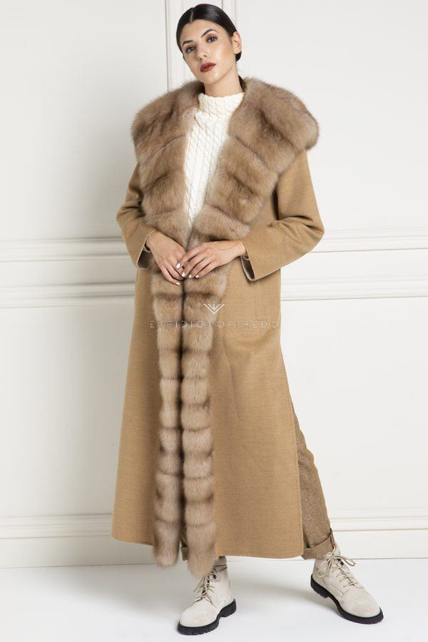 Cashmere Loro Piana Coat with Silverblue Mink Fur - Length 130