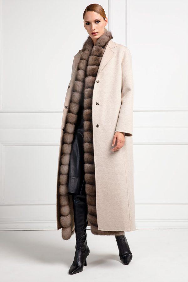 Cappotto di Cashmere Loro Piana con Gilet di Zibellino Russo Barguzinsky