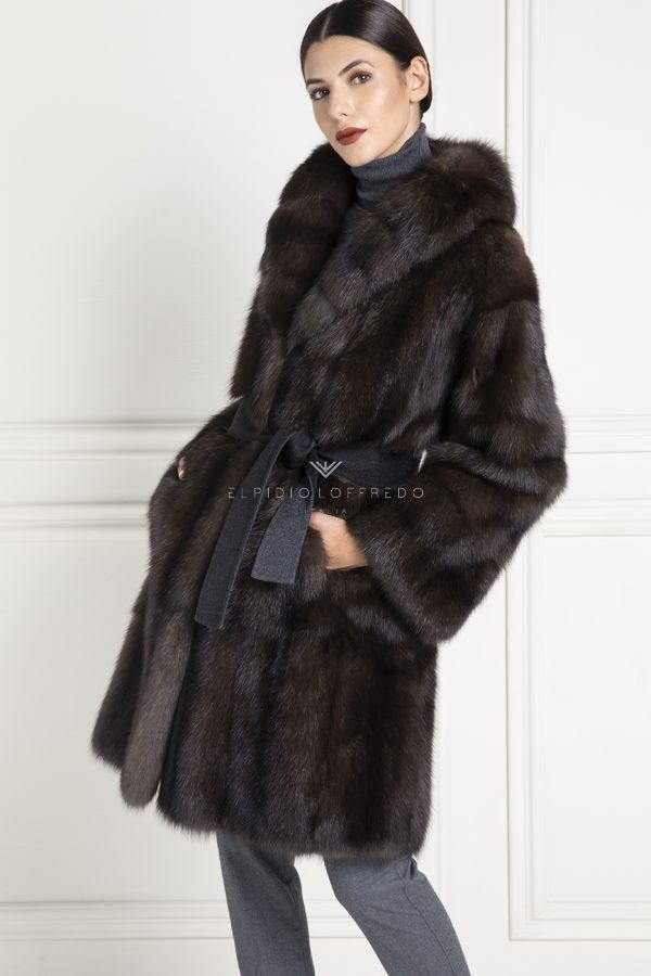 Barguzinsky Russian Sable Coat - Grafite Color - Length 100 cm