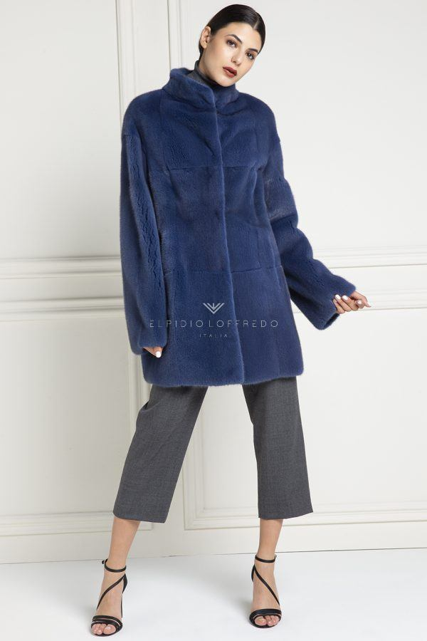 Cappotto di Visone Double Face Blue - Lunghezza 85 cm
