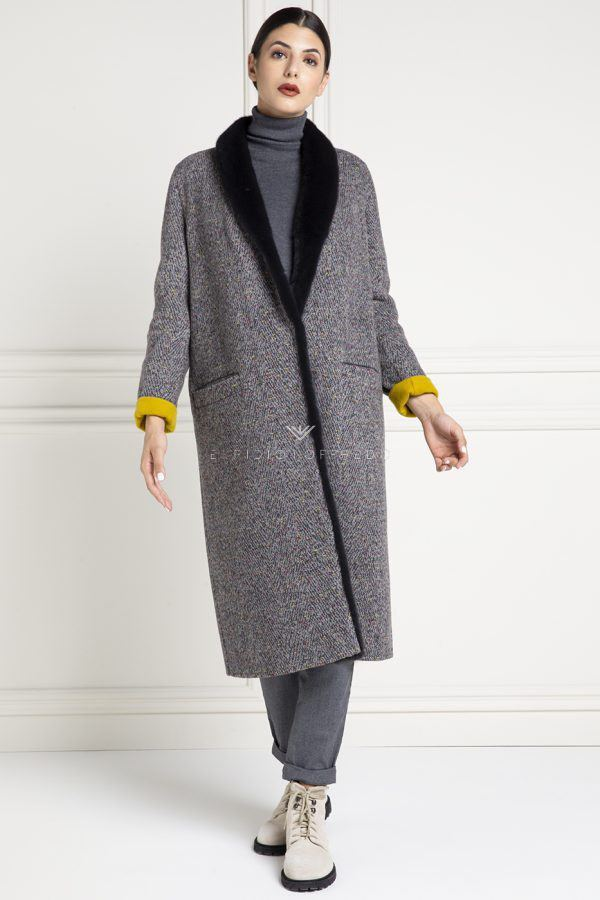 Cashmere Loro Piana Coat with Blue Mink - Length 115 cm