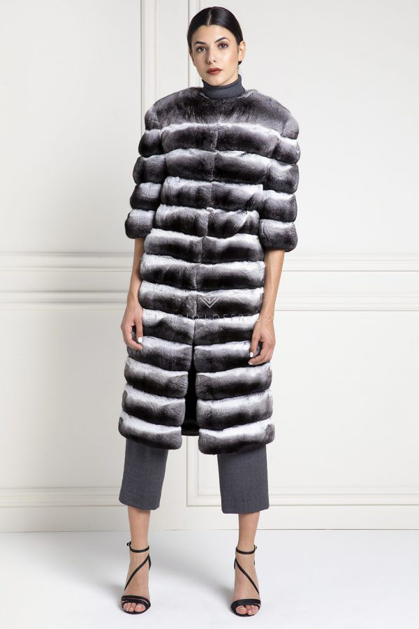 Natural Chinchilla Fur Coat - Length 110 cm