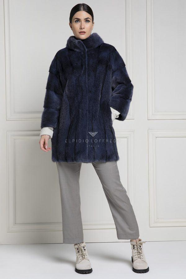 Cappotto di Visone Black Cross lavorato a pelli intere - Lunghezza 80 cm