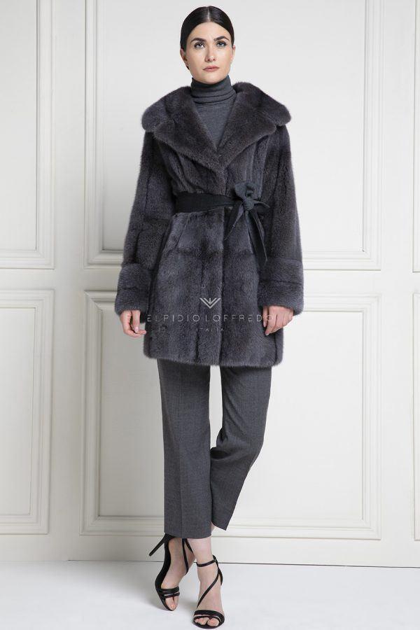 Cappotto di Visone con Collo Rever - Lunghezza 90 cm