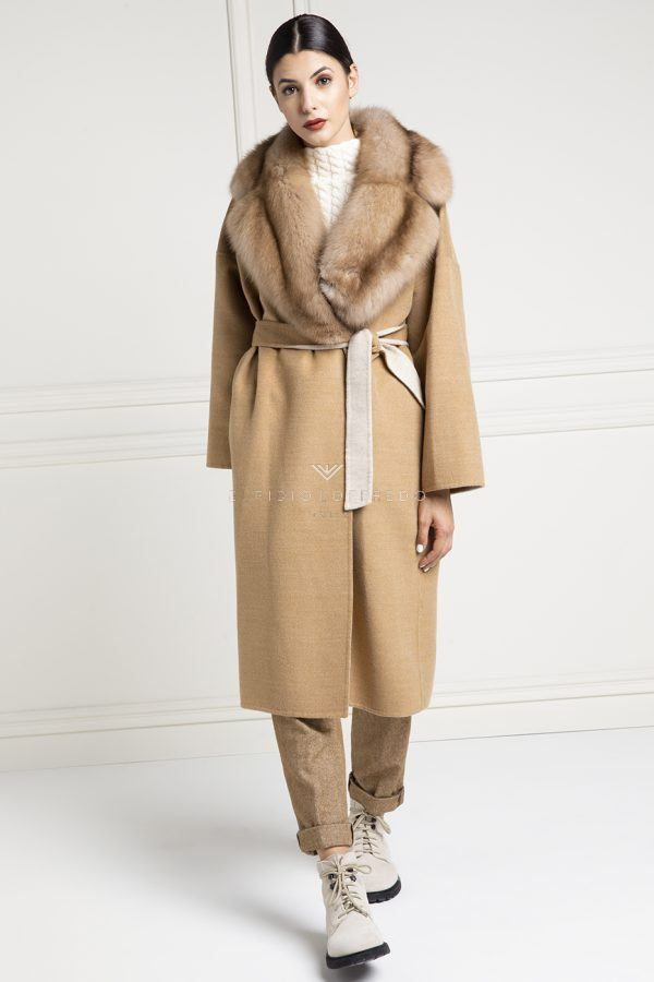 Cashmere Loro Piana Coat with Barguzinsky Russian Sable Fur - Length 110 cm