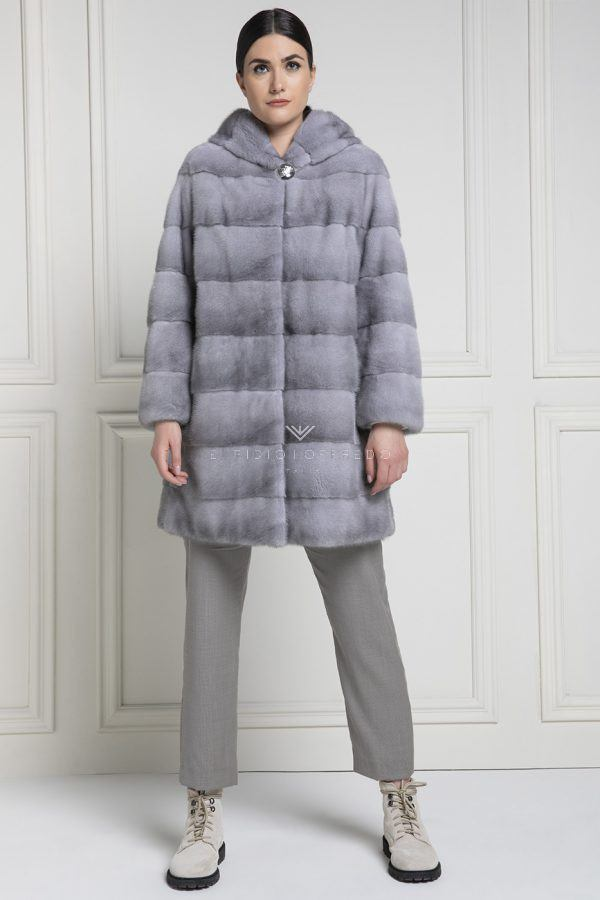 Sapphire Mink Coat with Hood - Length 85 cm
