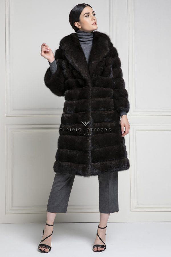 Barguzinsky Russian Sable Coat Silvery 2 - Grafite Color - Length 100 cm