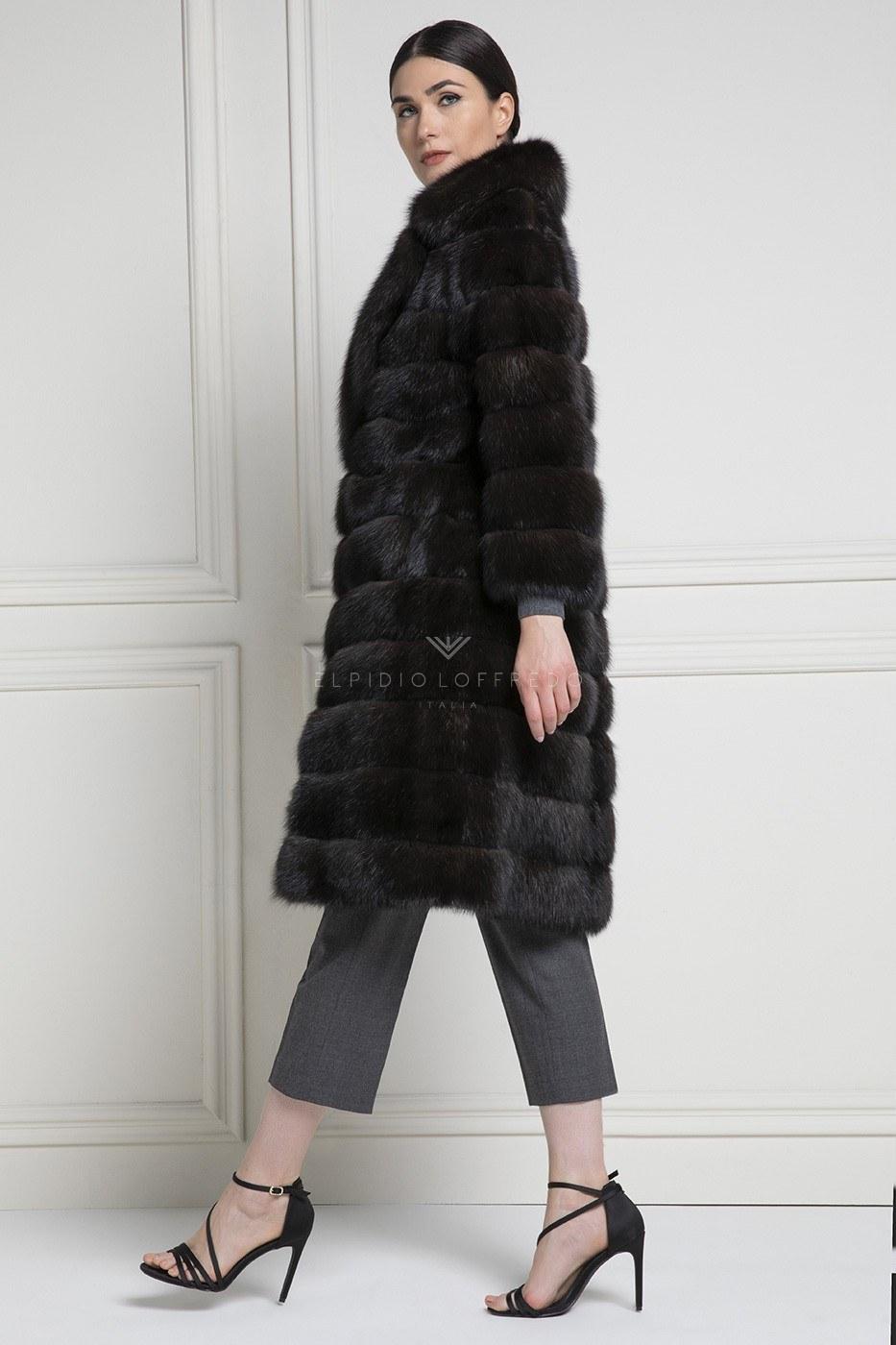 Cappotto di Zibellino Russo Barguzinsky Silvery 2 - Grafite - Lunghezza 100 cm