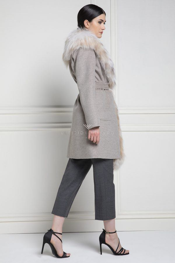 Cashmere Loro Piana Coat with Lynx Fur - Length 90 cm