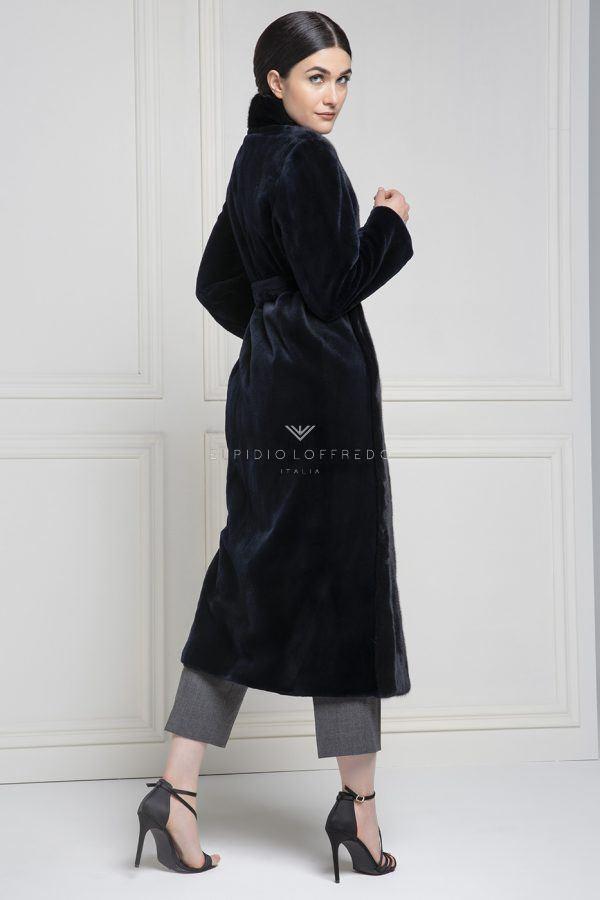 Cappotto di Visone Rasato con collo sciallato - Lunghezza 120 cm