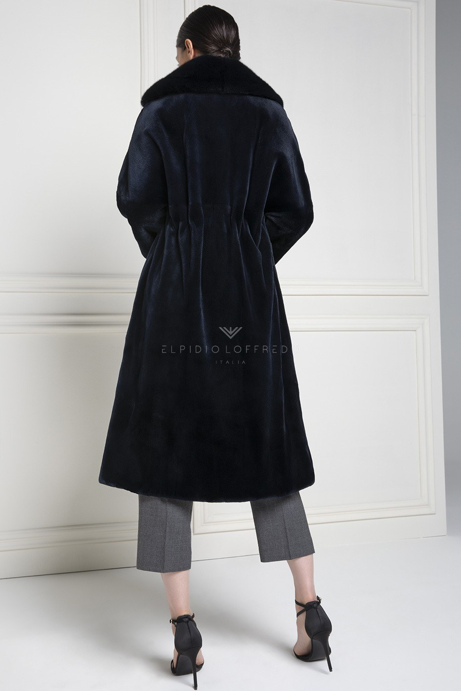 Sheared Mink Coat with Rever Collar - Length 110 cm