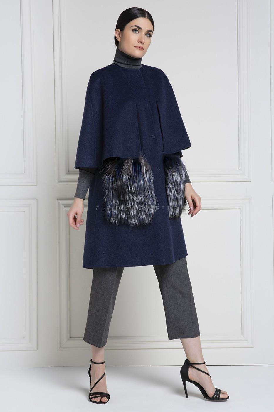 Cashmere Loro Piana Coat with Fox Fur - Length 90 cm