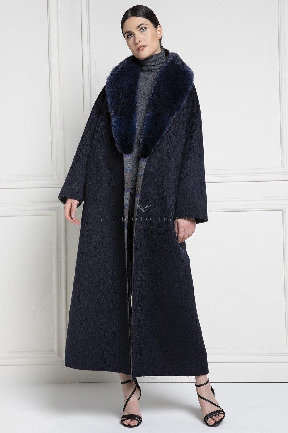 Cappotto di Cashmere Loro Piana con Pelliccia di Visone Blue con Collo Sciallato
