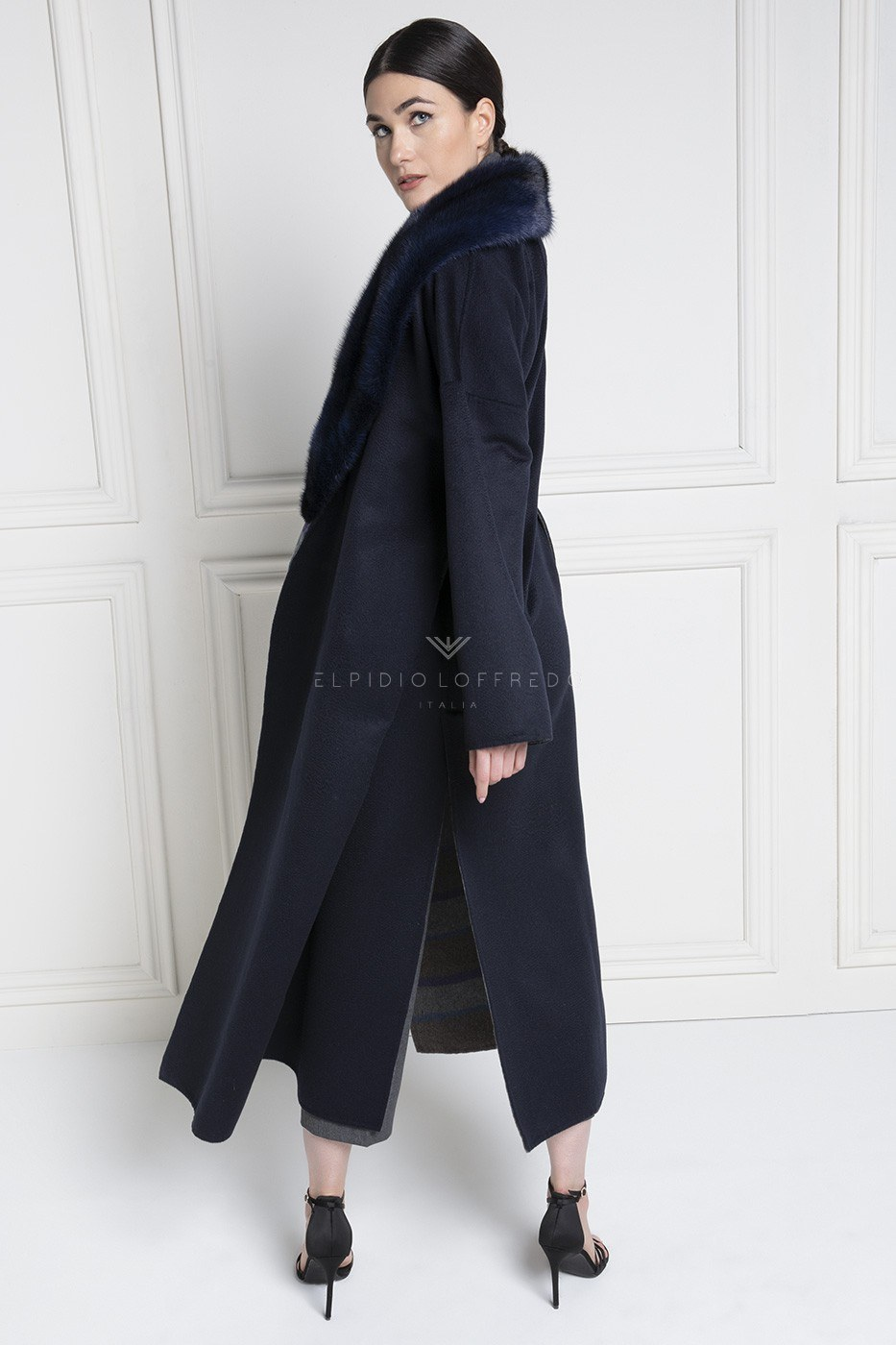 Cashmere Loro Piana Coat with Mink Fur and Shawl Collar Blue Color