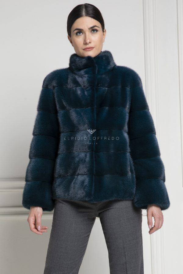 Green Mink Jacket with Round Collar - Length 65 cm
