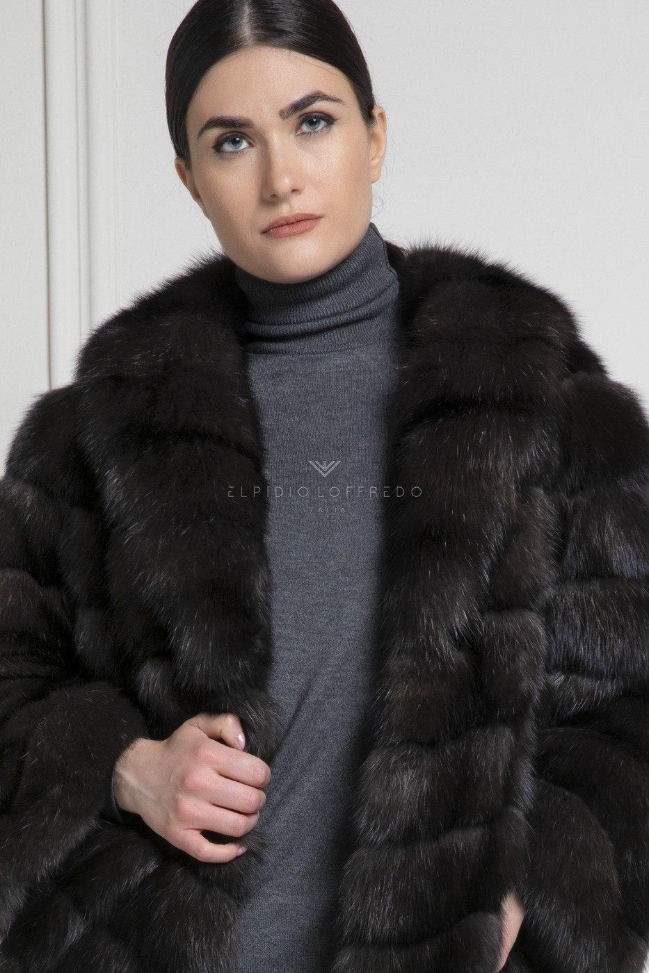 Cappotto di Zibellino Russo Barguzinsky Silvery 3 - Grafite - Rever Collar