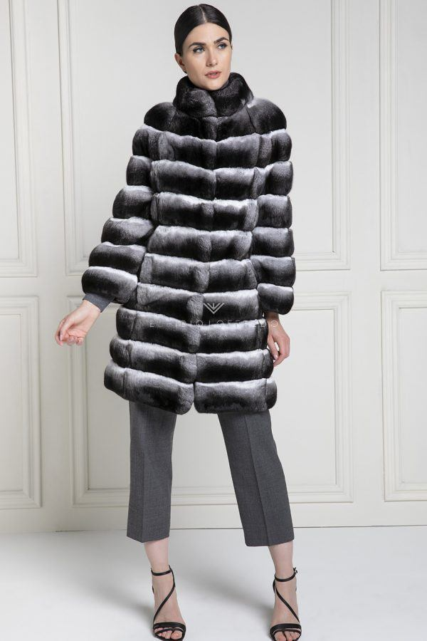 Chinchilla Fur Coat Natural Color - Length 85 cm