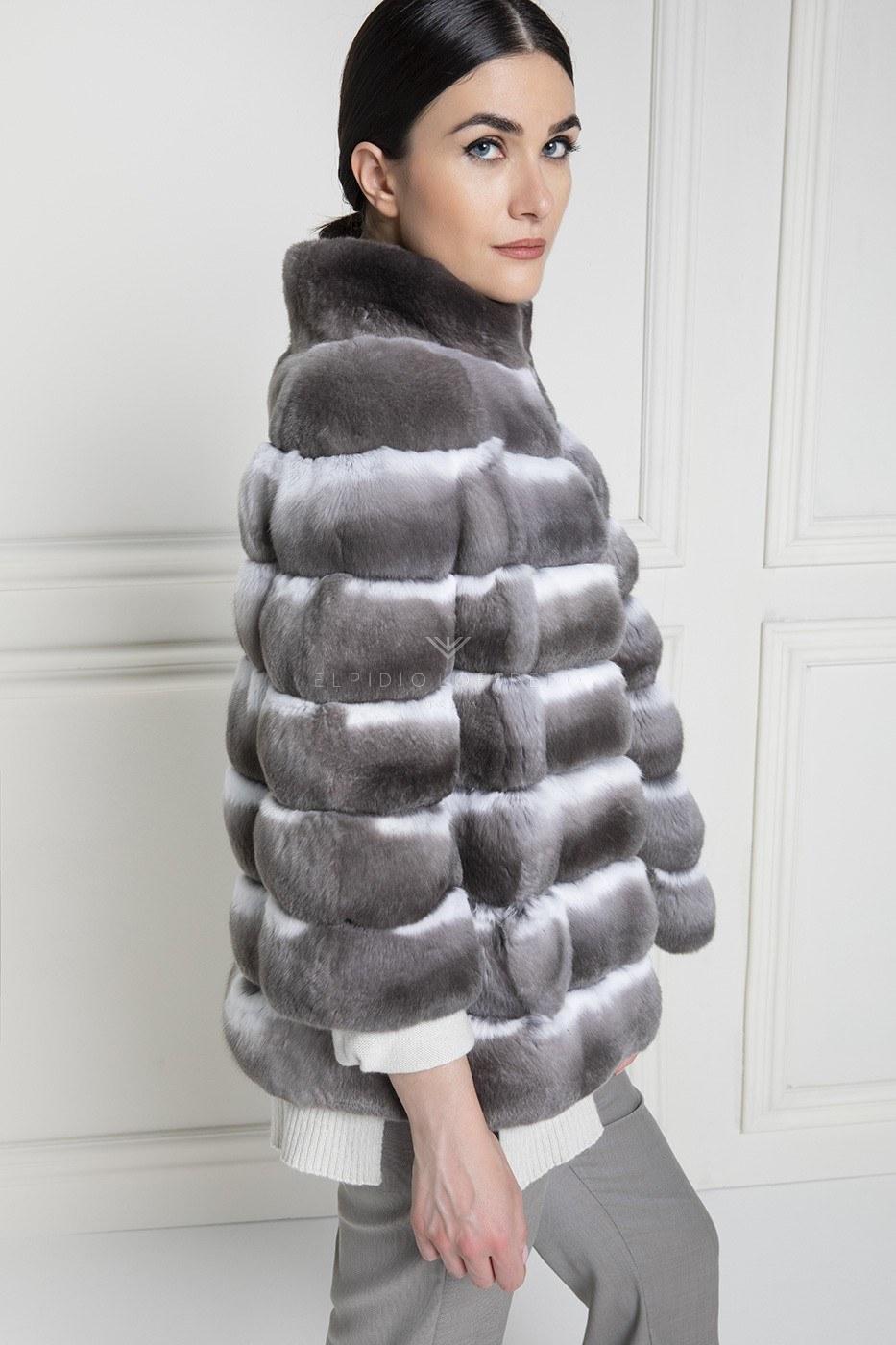 Шуба из Шиншиллы Violet Круглый Воротник - Длина 65 см