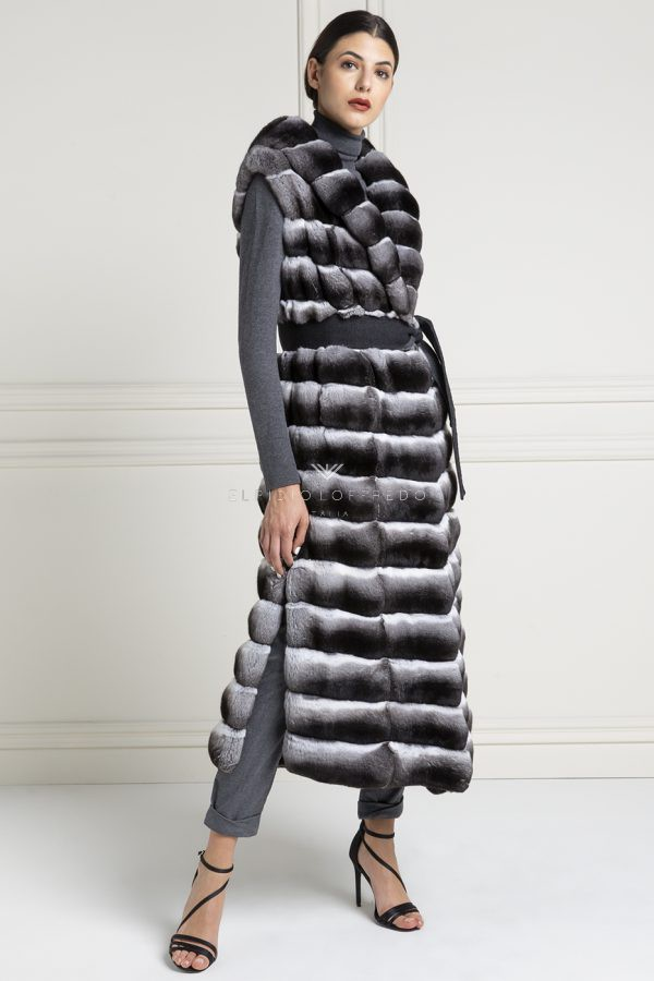 Natural Chinchilla Fur Vest Length, How Much Is A Full Length Chinchilla Fur Coat