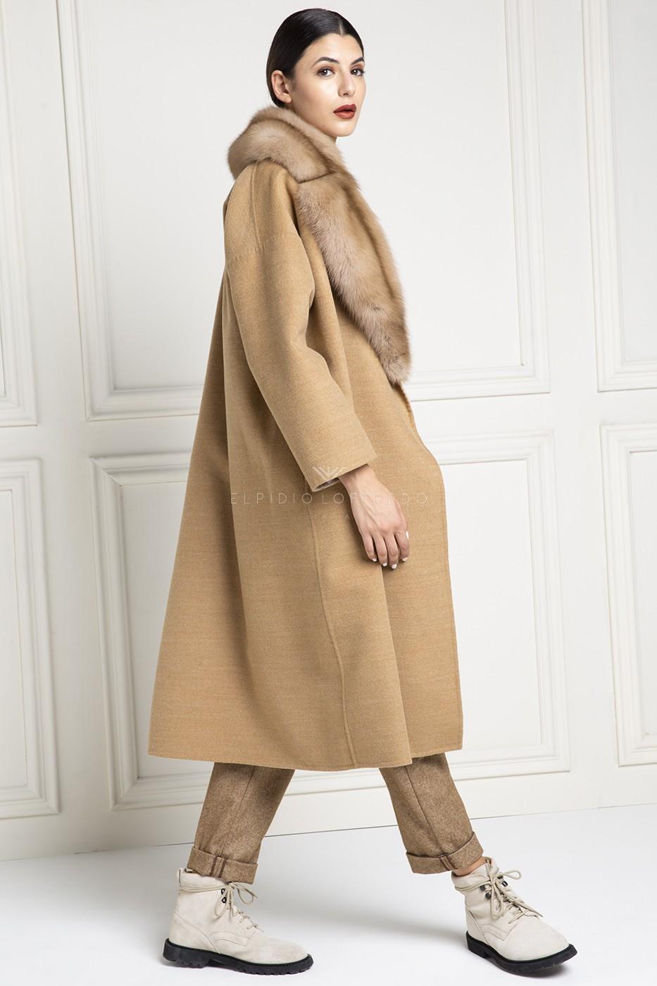 Cappotto di Cashmere Loro Piana con Pelliccia di Zibellino Russo Barguzinsky - Lunghezza 110 cm