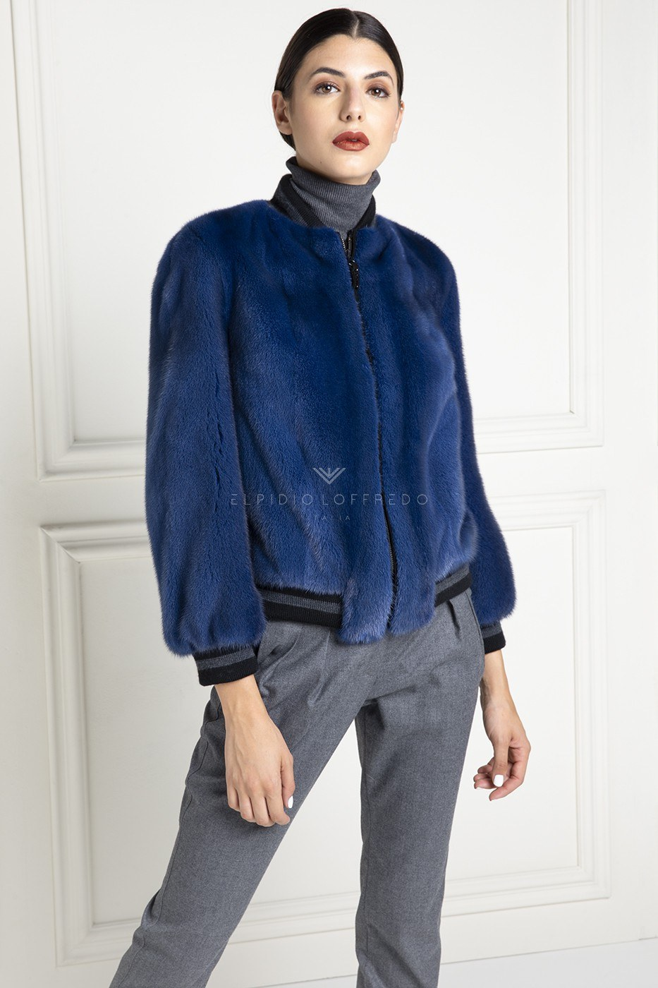 Blue Mink Bomber with Suede - Length 60 cm