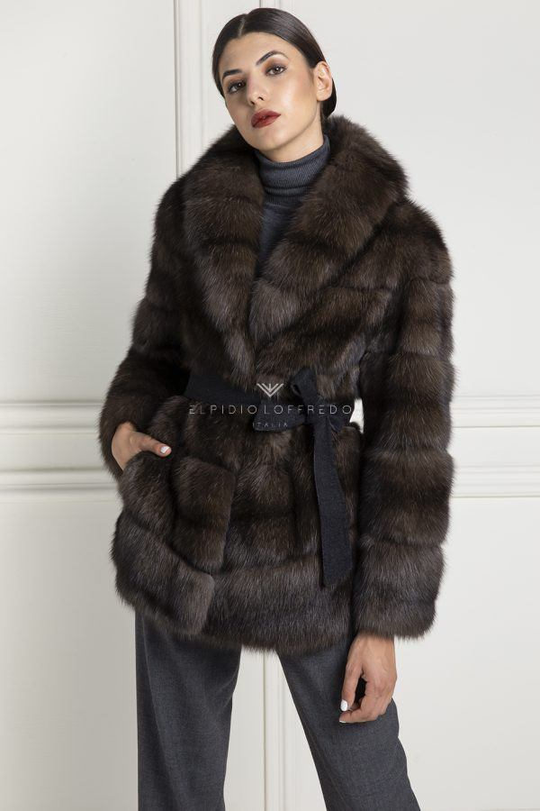 Barguzinsky Russian Sable Silvery 3 Fur with Shawl Collar - Dark Color - Length 75 cm