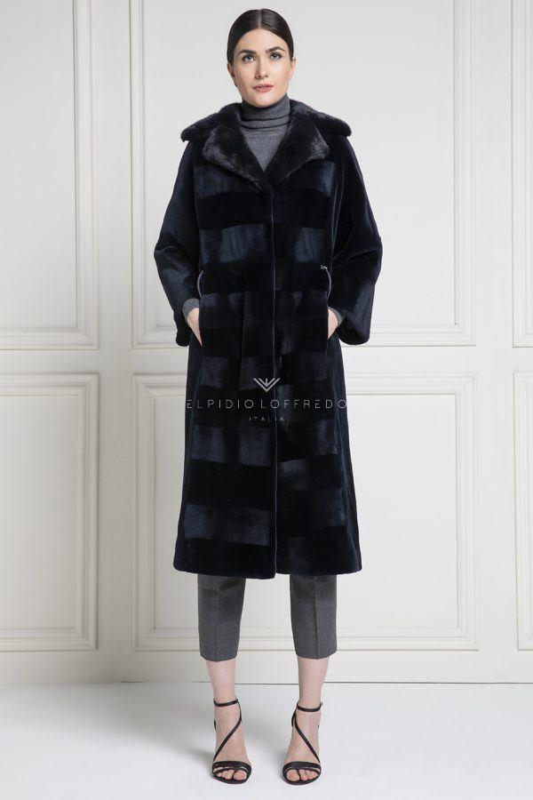 Cappotto di Visone Rasato con collo Rever - Lunghezza 110 cm