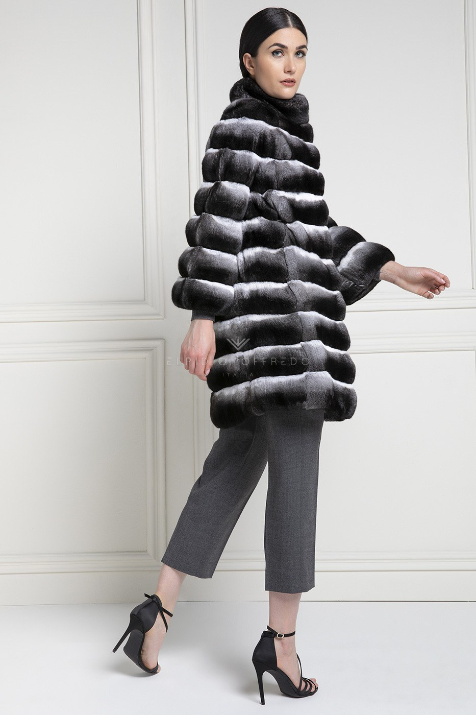 Cappotto di Cincillà Naturale - Lunghezza 85 cm