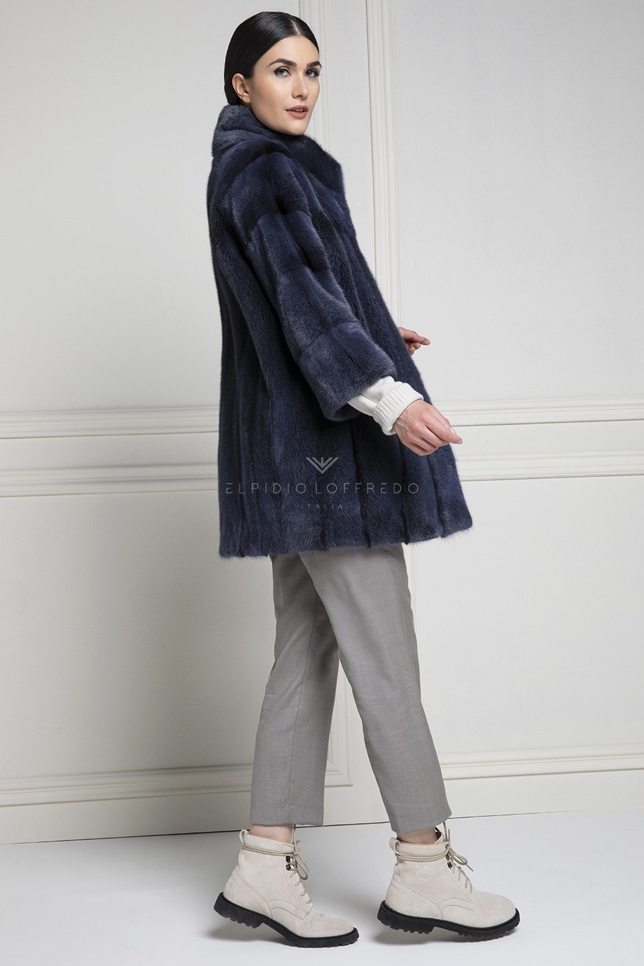 Blue Cross Female Mink Coat with whole skins - Length 80 cm