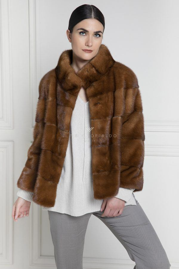 Honey Mink Jacket with Round Collar - Length 60 cm