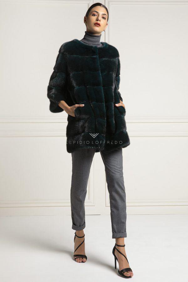 Cappotto di Visone Verde con Collo Piatto - Lunghezza 70 cm