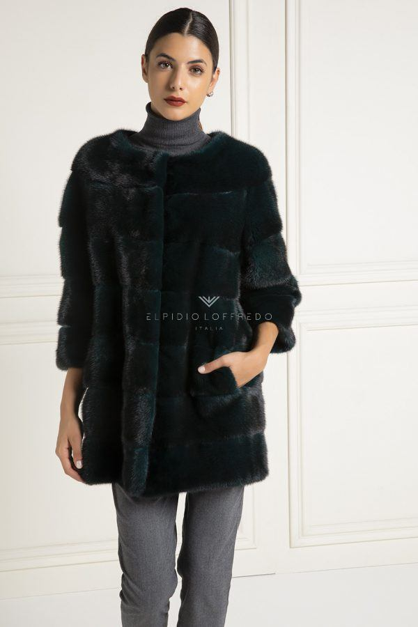 Green Mink Fur with Plat Collar - Length 70 cm