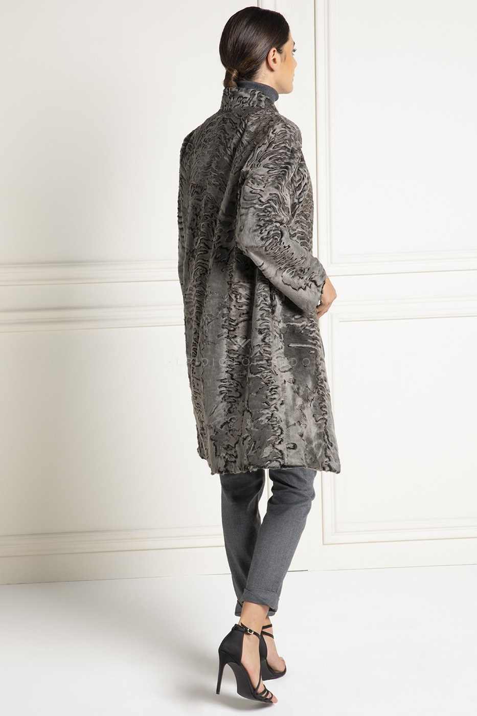 Stone Swakara Coat - Length 95 cm
