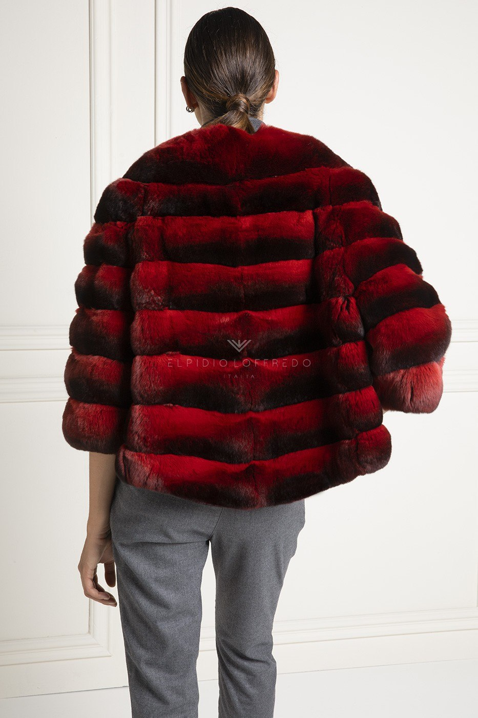 Red Chinchilla Jacket with Shawl Collar - Length 60 cm