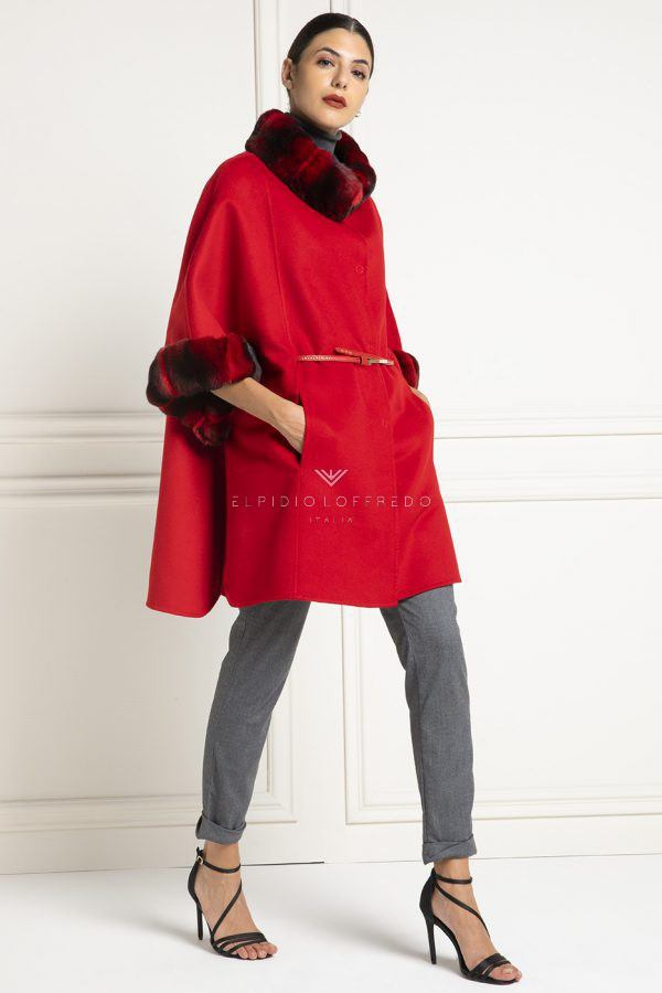 Cashmere Loro Piana Coat with Red Chinchilla Fur - Length 85 cm