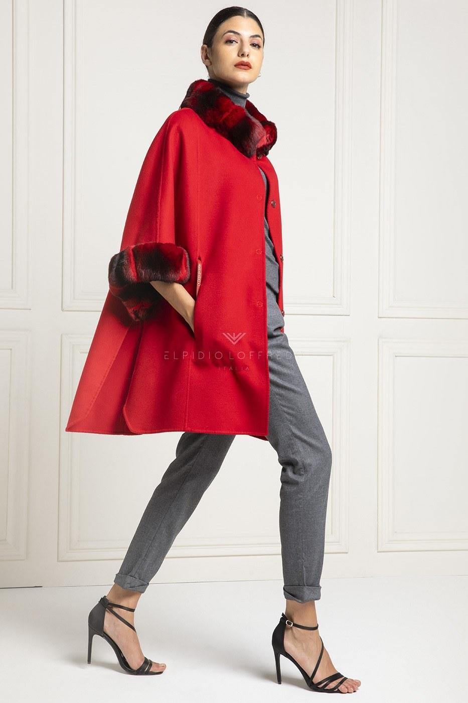 Cappotto di Cashmere Loro Piana con Pelliccia di Cincillà Rosso