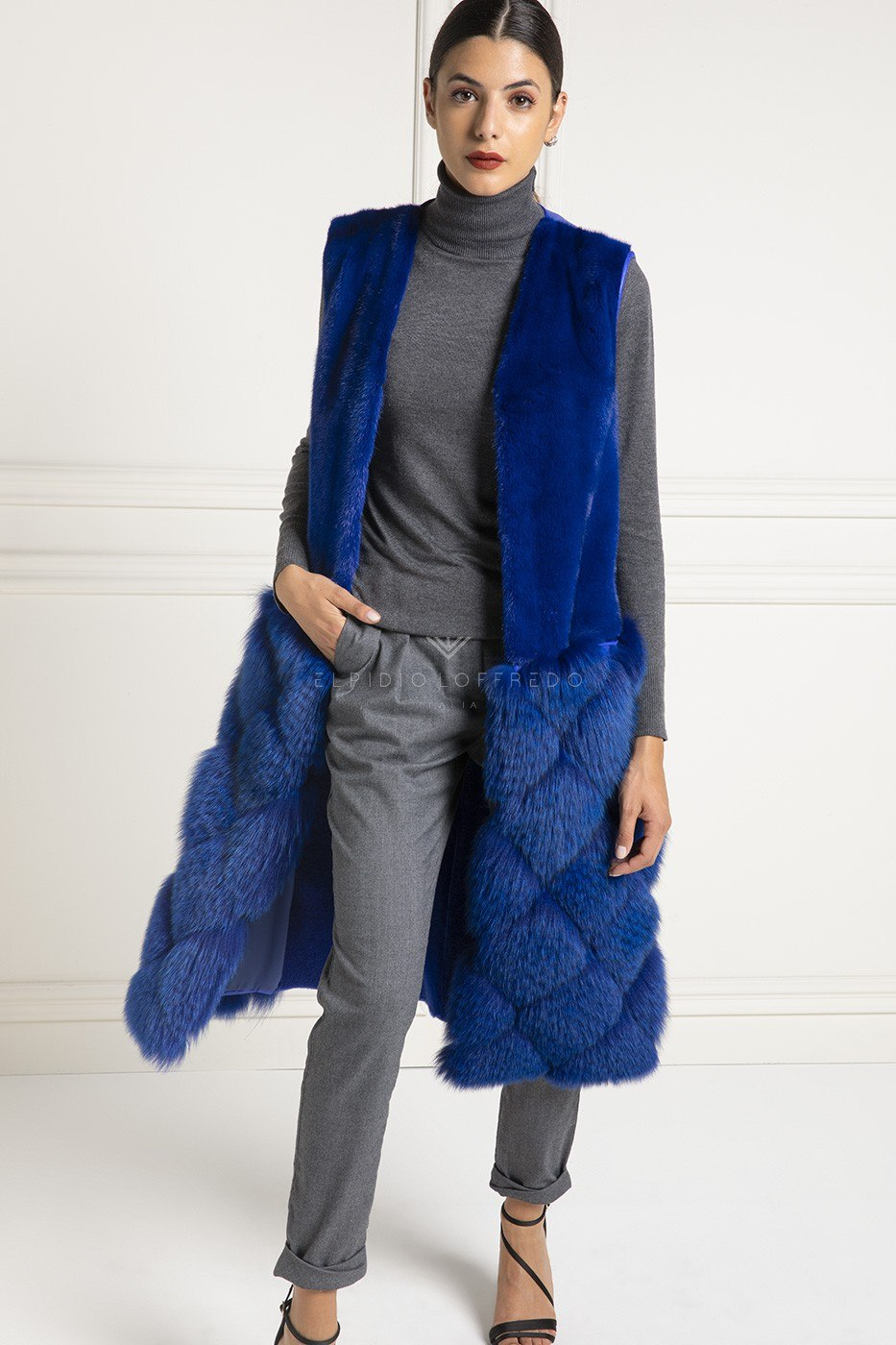 Shearling Vest with Fox and Mink Fur