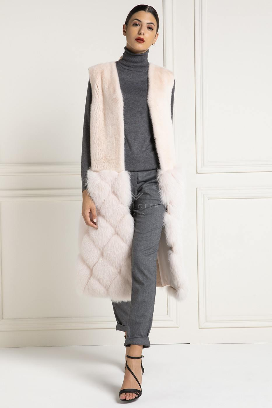 Shearling Vest with Fox and Mink Fur - Length 110 cm