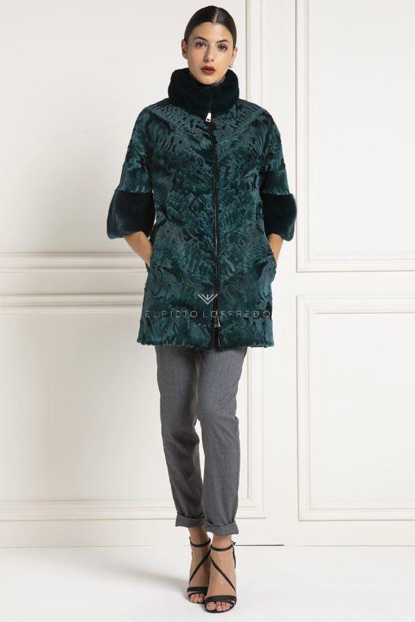 Cappotto di Pelliccia diSwakara con Visone - Lunghezza 75 cm