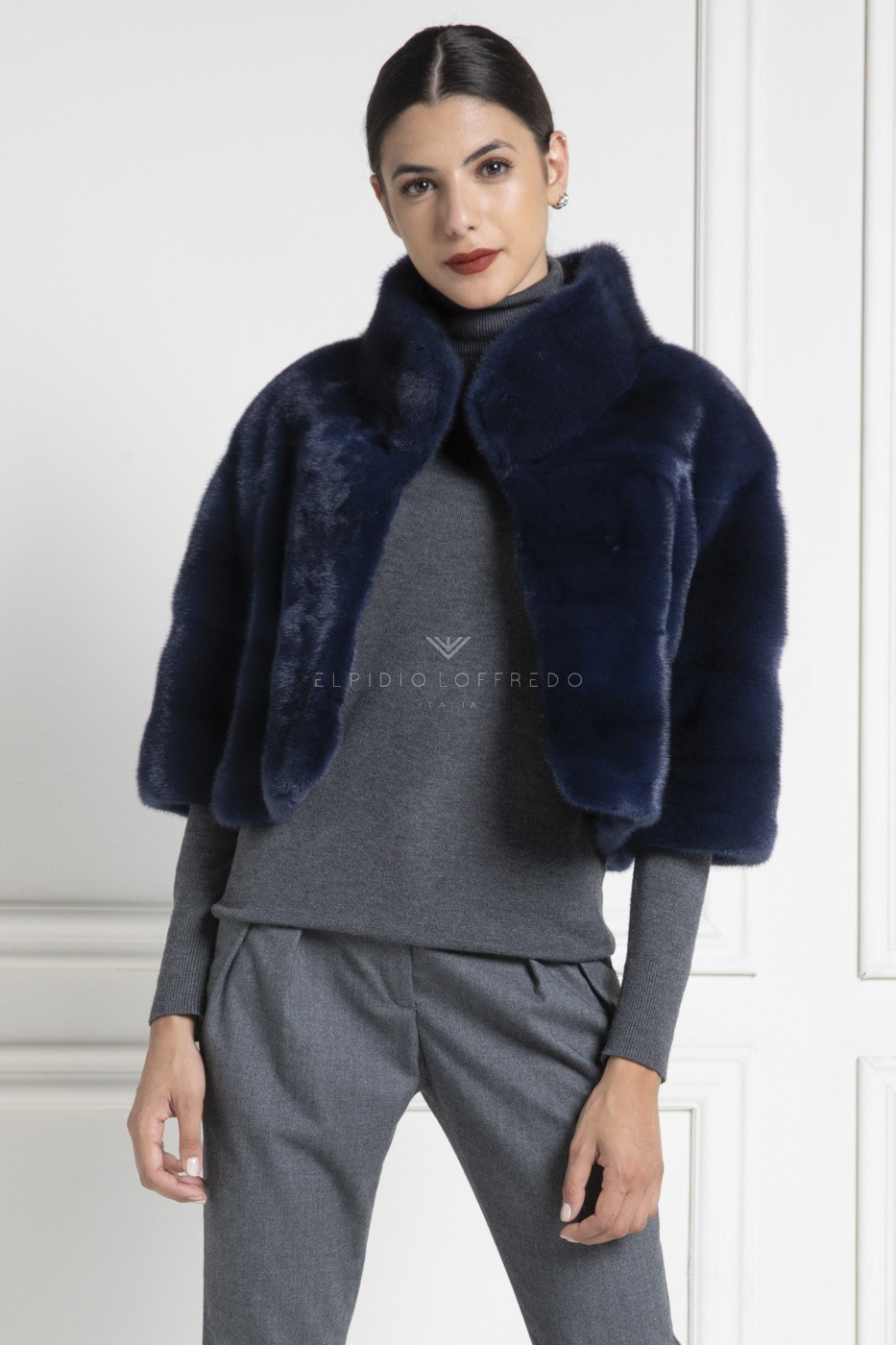 Blue Mink Jacket with Round Collar - Length 50 cm