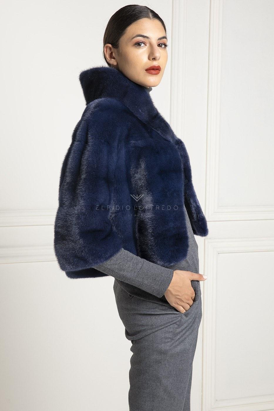 Giacca di Visone Blue con collo rotondo - Lunghezza 50 cm